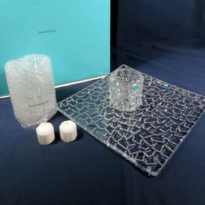 TIFFANY & CO CRYSTAL CANDLE HOLDERS & PLATTER
